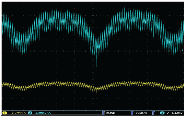 Figure 9. 3.3 V supply measured with a 2X probe (blue) and a 10X probe (yellow).