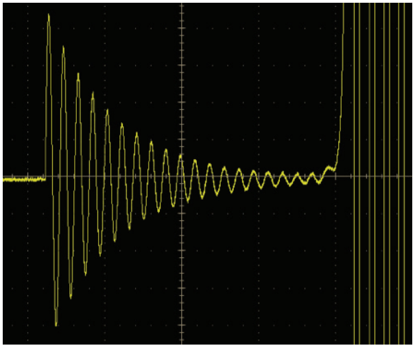 Overdriving electroluminescent wire inverter signal, all ringing can be seen
