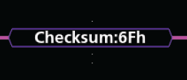 Checksum values are shown in purple boxes (or red boxes, in case of errors).