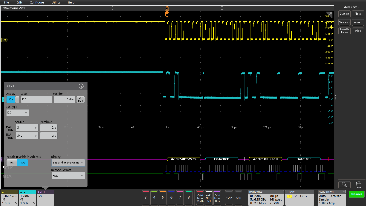 I2C serial bus setup for automated decoding and triggering