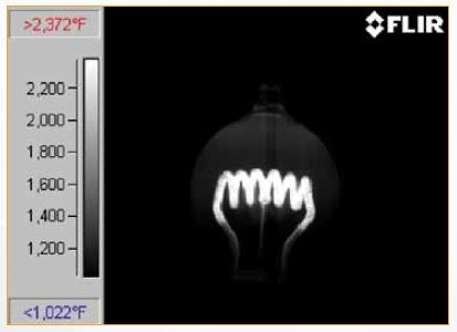 Figure 4: Thermographic image of light bulb with InSb detector (3.0 μm to 5.0 μm) and < 4.1 μm filter