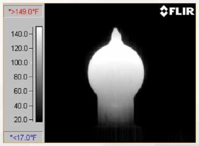 Figure 5: Thermographic image of light bulb with microbolometer detector (7.5 μm to 13.0 μm)