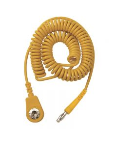 Vermason Coiled Cord, Yellow, 2M, 4mm Socket/4mm Plug